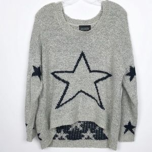 Maddison Hi Low Fuzzy Sweater Stars Black Grey